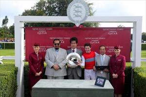 Connections of Deirdre (JPN) receive the trophy for the Group 1 Qatar Nassau Stakes victory, picture Goodwood Racecourse