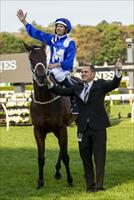 Winx, jockey Hugh Bowman and trainer Chris Waller stand in salute before the Randwick stands, picture Sportpix.com.au