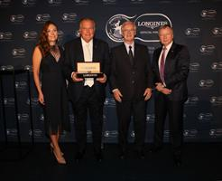 Amelia Michael (Longines Brand Manager of Australia), John Messara (2019 Recipient of the Longines & IFHA International Award of Merit), Louis Romanet (IFHA Chairman), Winfried Engelbrecht-Bresges (IFHA Vice-Chairmen, Asia), picture ©Longines.