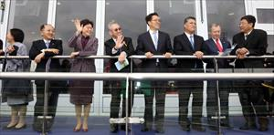 Dr Anthony W K Chow, Mrs Carrie Lam and other honourable guests watch the historic first race, picture the Hong Kong Jockey Club
