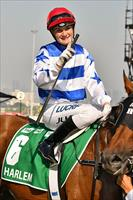 Victorian jockey Jamie Kah salutes after her win on Harlem (GB), picture Quentinjlang.com