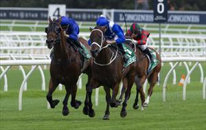 Winx (AUS) and Hugh Bowman (right) passing Happy Clapper (AUS) and Blake Shinn, picture Sportpix.com.au