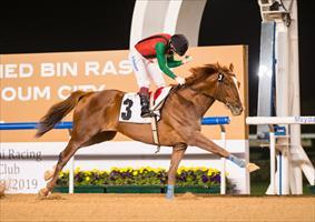 Dolkong (USA) wins the listed Curlin Handicap, picture Dubai Racing Club/Erika Rasmussen