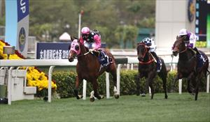 Beauty Generation (NZ) and Zac Purton dominating Sha Tin, picture Hong Kong Jockey Club