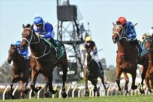 Winx and Hugh Bowman winning the 2018 Group 1 Turnbull Stakes (2000m) at Flemington, picture Quentinjlang.com