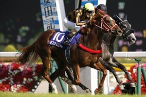 Mozu Ascot (#10), with Christophe Lemaire up, passing runner up Aerolithe on the inside in Sunday's Grade 1 Yasuda Kinen (1600m) at Tokyo, picture Yuki Shimono for Breeders' Cup