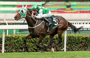 Pakistan Star (GER) and William Buick winning the Group 1 Audemars Piguet QEII Cup (2000m) at Sha Tin on Sunday, picture Liesl King