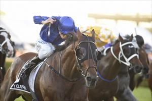 Happy Clapper and Blake Shinn winning the 2018 Group 1 The Star Doncaster Mile (1600m) at Randwick, picture Stevehart.com.au