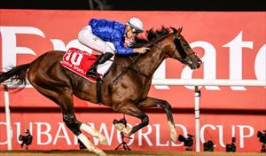 Thunder Snow (IRE) and Christophe Soumillon winning the Group 1 Dubai World Cup, picture Liesl King