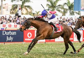 Marinaesco and Bernard Fayd'Herbe winning the 2017 Grade 1 Vodacom Durban July at Greyville, picture Liesl King.