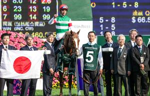 The winners circle with Joao Moreira saluting the win, one of five on the programme for the leading jockey, picture Liesl King