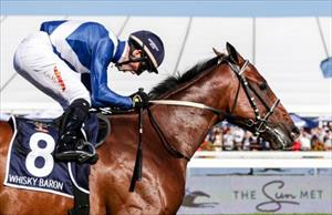 Whisky Baron (AUS) and Greg Cheyne win the Grade 1 Sun Met (2000m) at Kenilworth, picture Liesl King