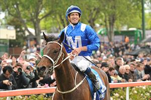 Winx and Hugh Bowman after winning the 2016 Group 1 Cox Plate (2040m) at Moonee Valley, picture Quentinjlang.com