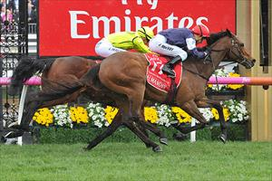 Almandin (GER) and Kerrin McEvoy winning the Group 1 Emirates Melbourne Cup (3200m) at Flemington, picture Quentinjlang.com