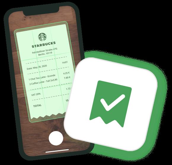 Ein Starbucks-Beleg wird mit der Moss App fotografiert und hochgeladen.