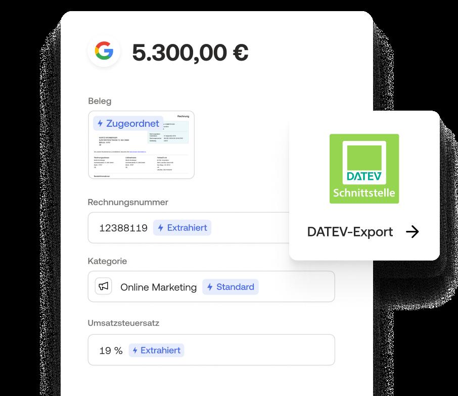 Digitale Buchhaltung mit Datev-Schnittstelle für Export von Belegen