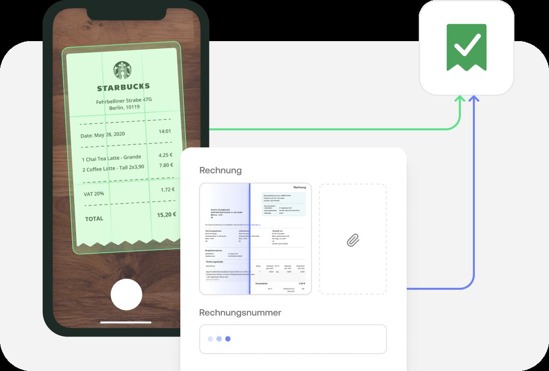Belege direkt mit dem Smartphone hochladen, z.B. Rechnungen von Starbucks