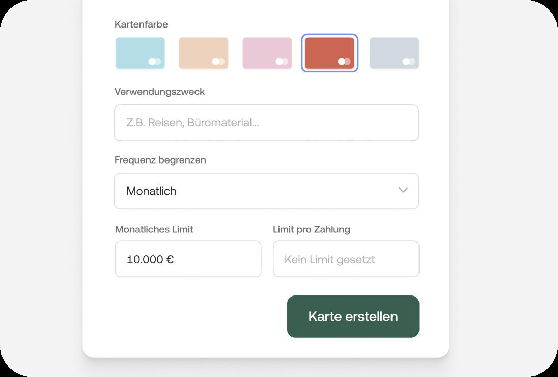 Farbe, Verwendungszweck, Frequenz und Limit für neue Karten festlegen