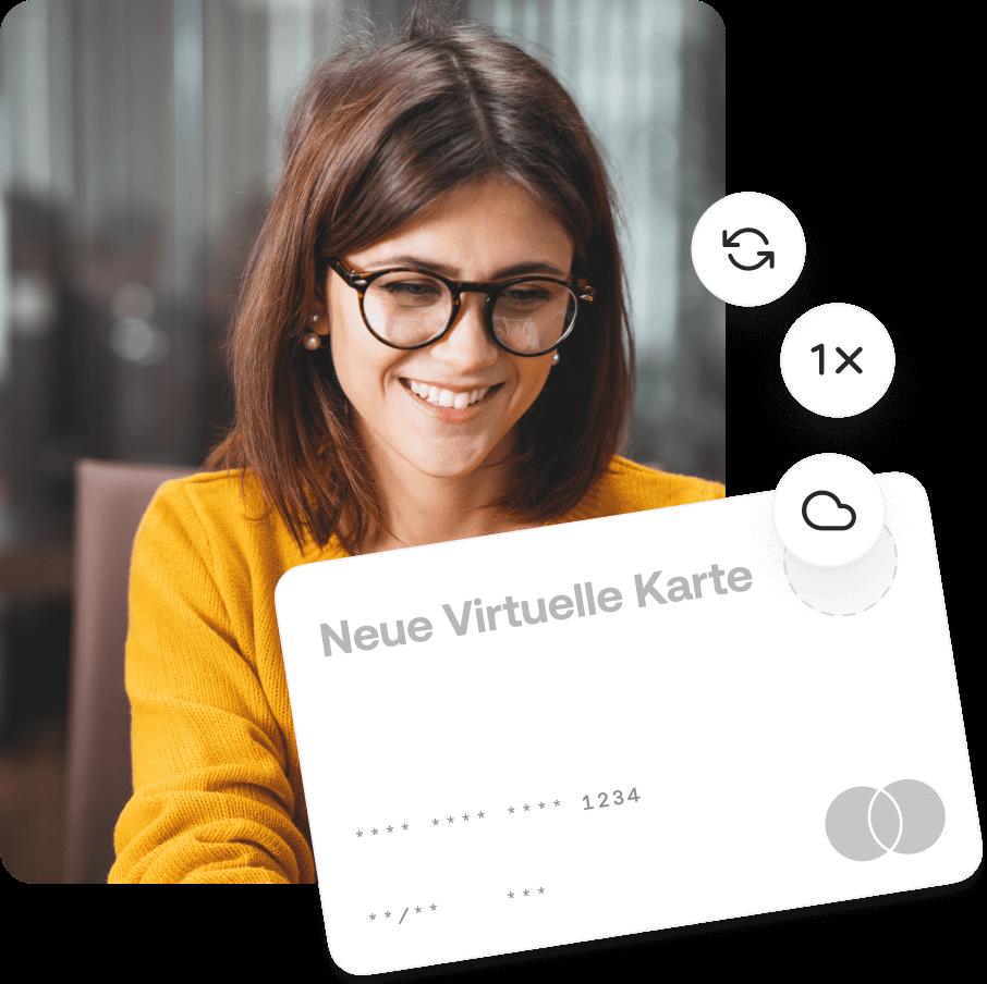 Frau beantragt und freut sich ueber virtuelle Kreditkarte