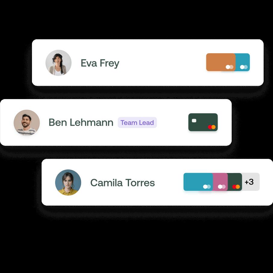 Verschiedene Kreditkarten für alle Mitarbeiter