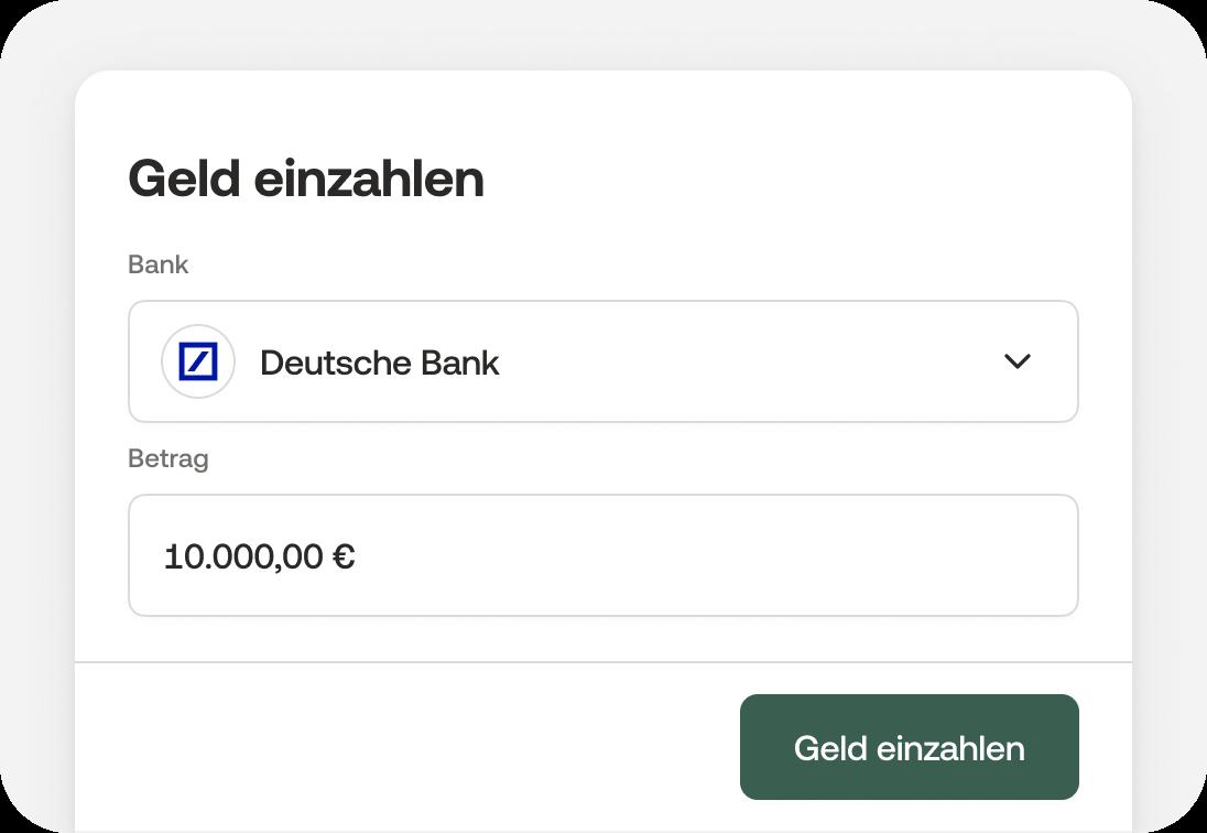 In der Moss App Bank auswählen, Betrag eingeben und Geld einzahlen