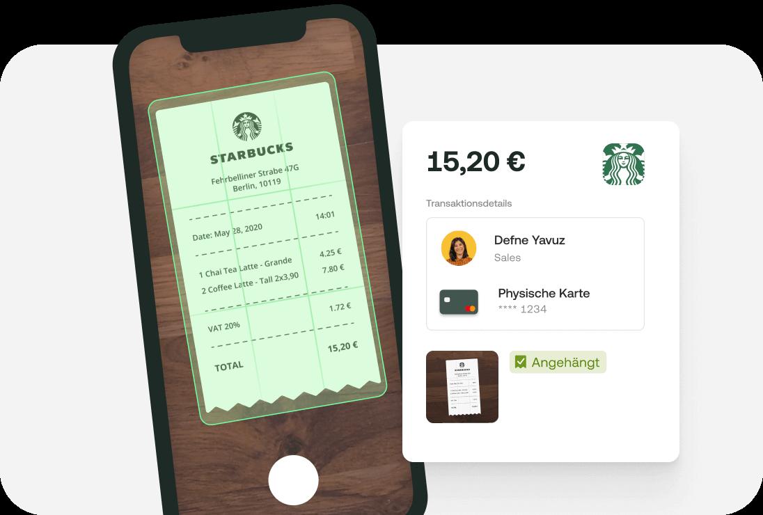 Digitale Spesenverwaltung: Karte erstellen und Beleg (z.b. Starbucks) in der App photographieren und hochladen