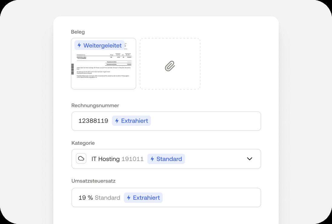 In der Moss App Daten für die Buchung (wie Rechnungsnummer, Kategorie, Umsatzsteuersatz, etc.) automatisch zuweisen lassen