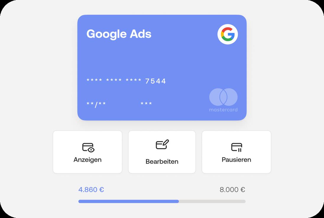 Budgets für Ausgaben (z.B. Google Ads) im Handumdrehen anpassen, anzeigen, bearbeiten oder pausieren.