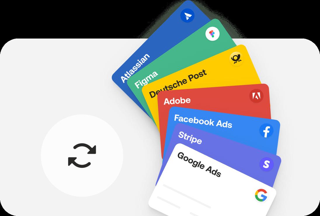 Virtuelle Kreditkarte für alle Arten von Abonnements, wie z.B. für Services wie Adobe oder Figma, oder auch Werbekosten wie Facebook oder Google Ads
