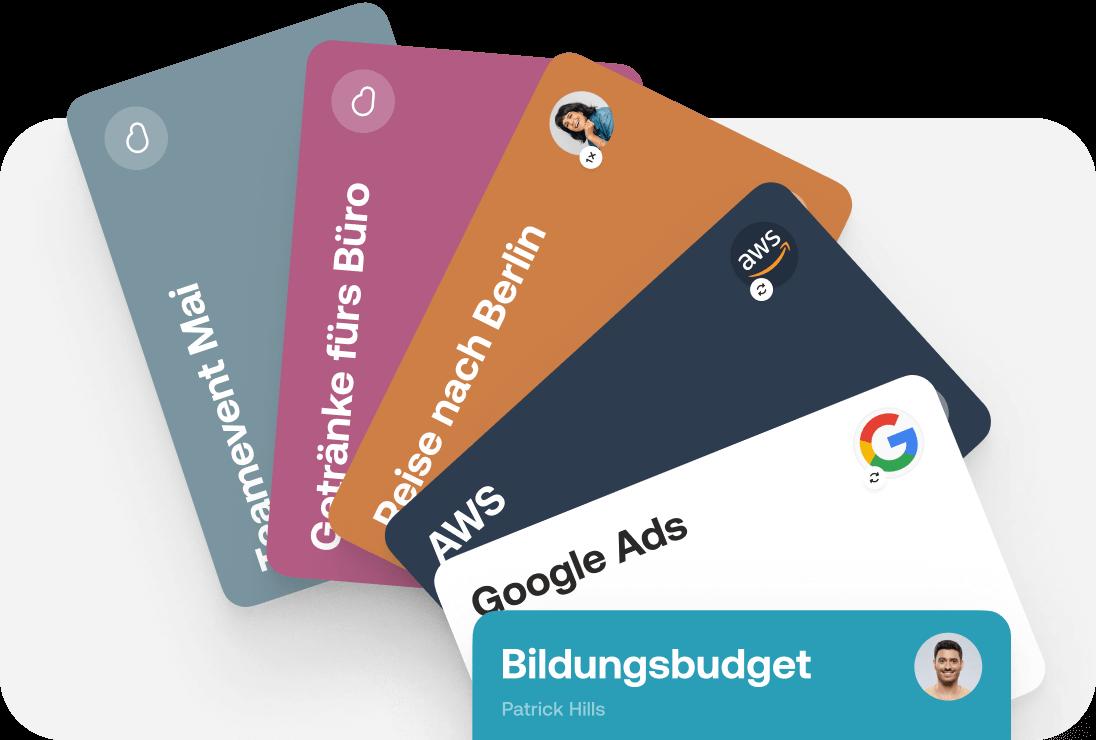 Verschiedene virtuelle Kreditkarten in unterschiedlichen Farben und für verschiedene Arten von Ausgaben