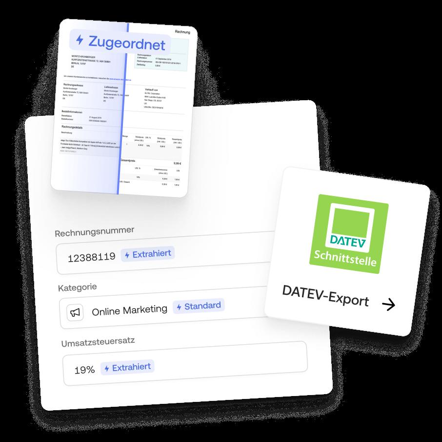 Mit Moss Belege hochladen, Transaktionen zuordnen und alles Daten nach Datev exportieren: fuer weniger Aufwand bei der Buchhaltung
