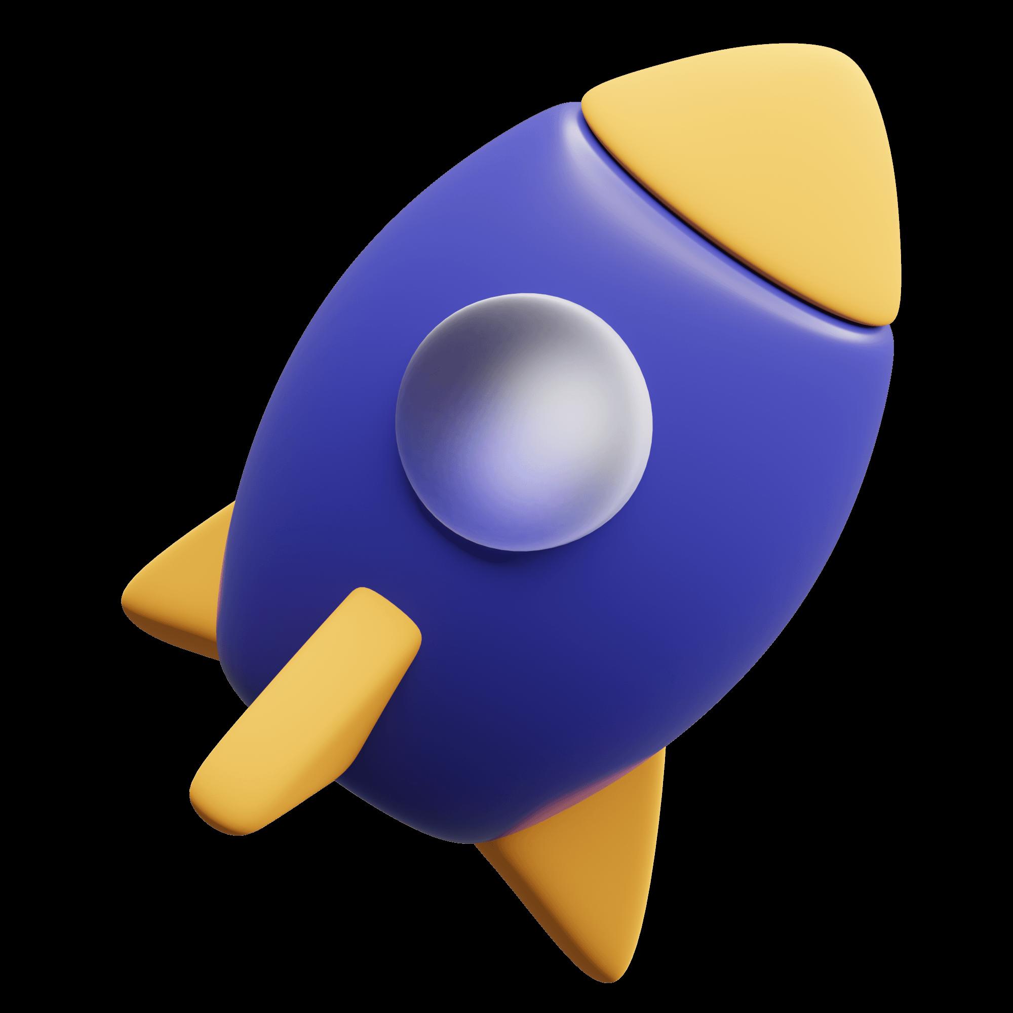 purple rocket ship