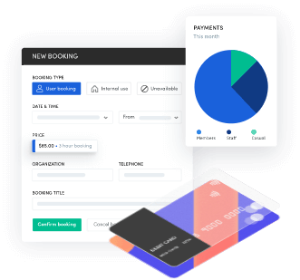 Credit card alongside online booking form and graph