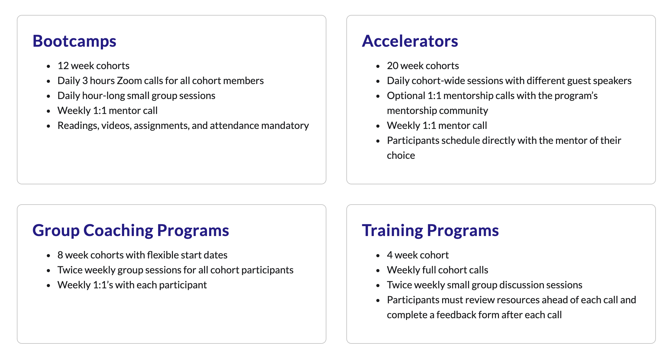 Different ways to leverage live group learning for bootcamps, accelerators, coaches, and training programs