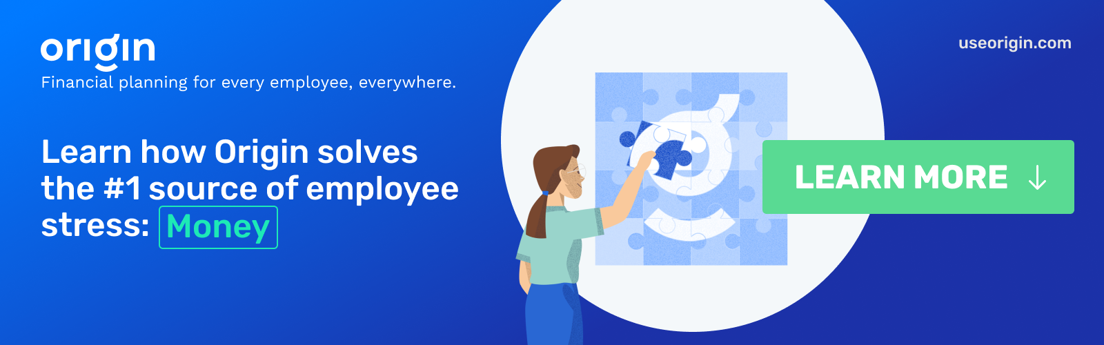 """A graphic with the text """"Learn how Origin solves the #1 source of employee stress: Money"""". Click the button to book a meeting to learn about Origin financial wellness."""