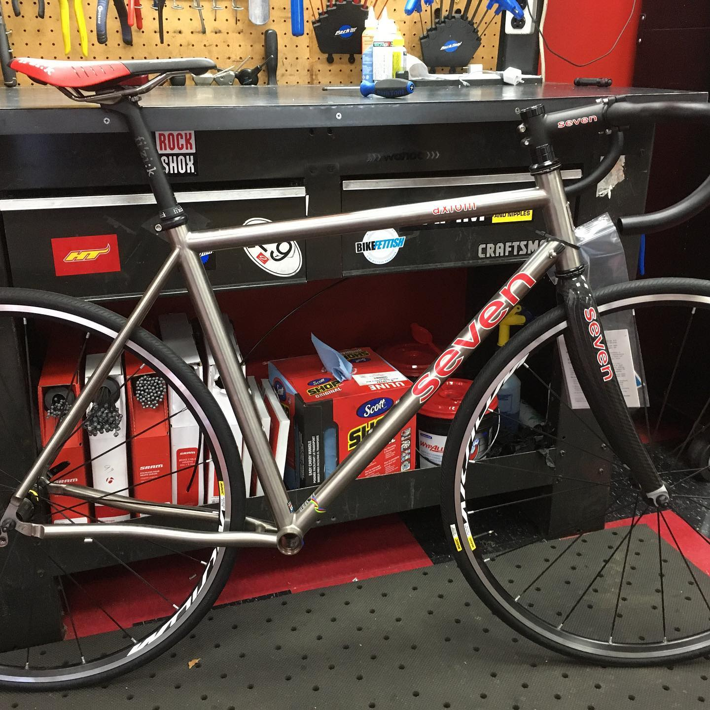Selling off our Seven Cycles titanium demo road bike less groupset. $1500 Size 56cm. Includes cockpit, Mavic wheels, saddle, and seatpost. Call the shop for more details.