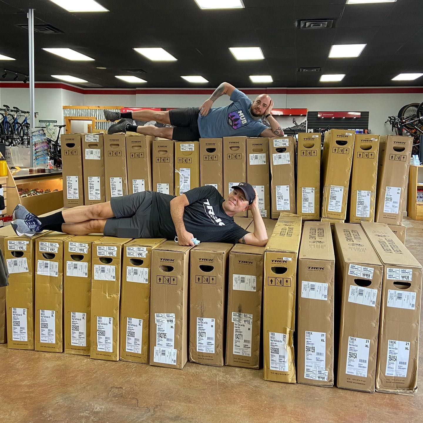What bike shortage? Is that still a thing? . We have sport level mountain bikes and hybrid bikes.. we can put you on a bike NOW. We have about 300 bikes in all sizes. . #trekbikes #trek #ridebikes #mtnbike #hybridbike #getoutsideandride #bikeshortage