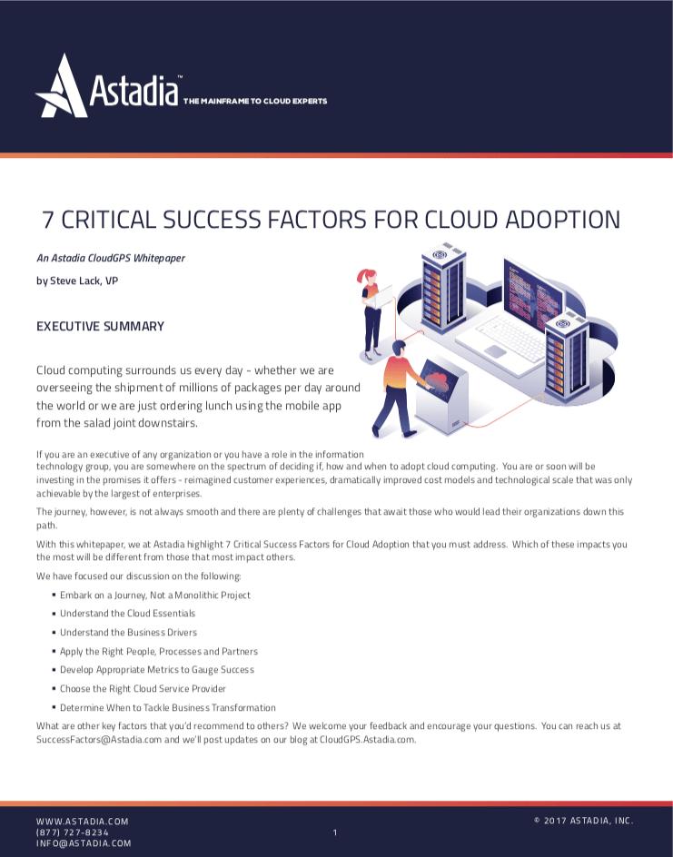 7 Critical Success Factors for Cloud Adoption