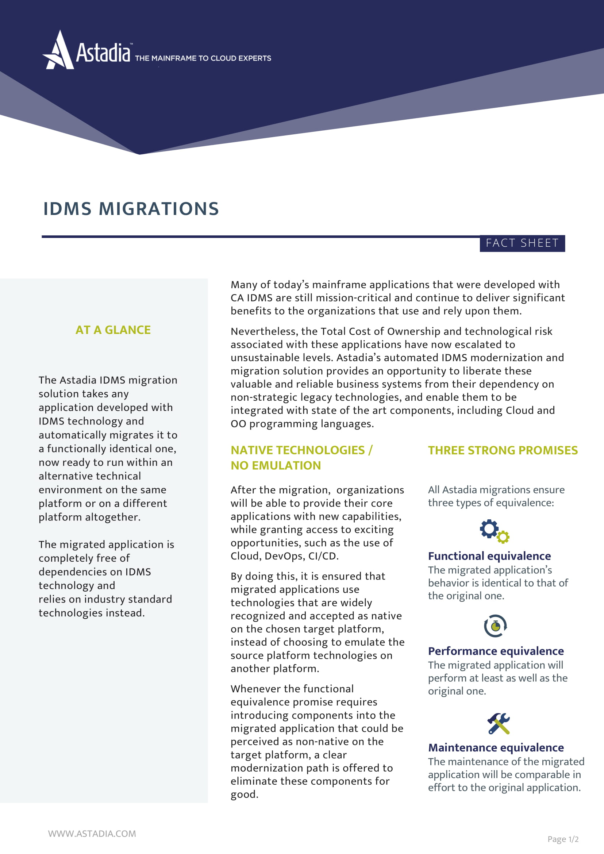 CA IDMS/DB Migrations Fact Sheet