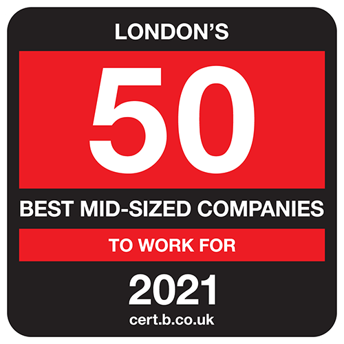 London's 50 Best Mid-Sized Companies to Work For list logo