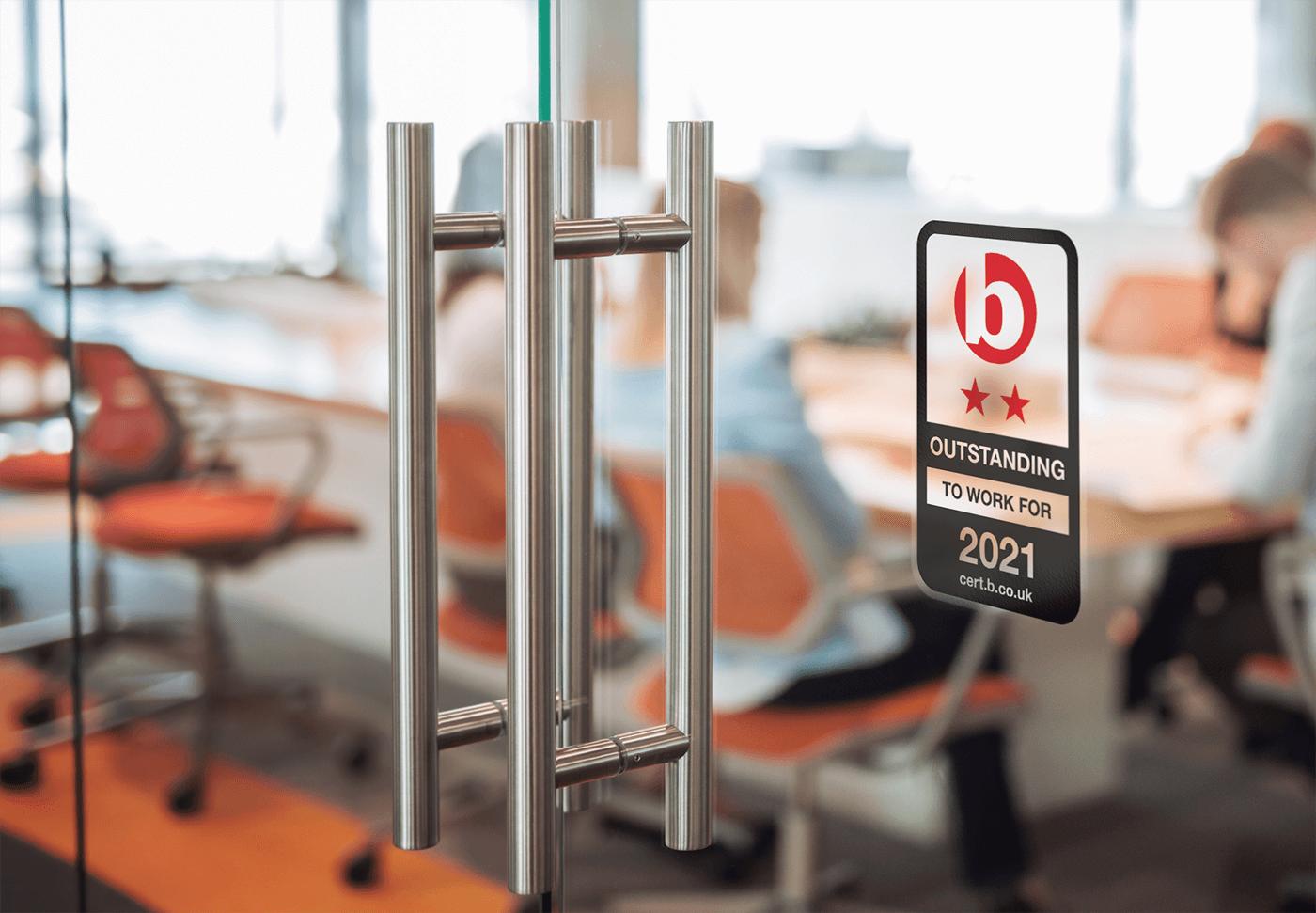 Best Companies Outstanding Accreditation sticker on door
