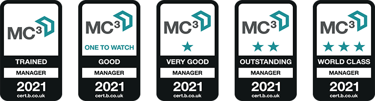MC3 trained manager accreditation logos