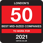 London's 50 Best Mid-sized Companies to Work For 2021 Logo
