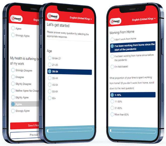 b-Heard demonstration survey displayed on three mobile devices