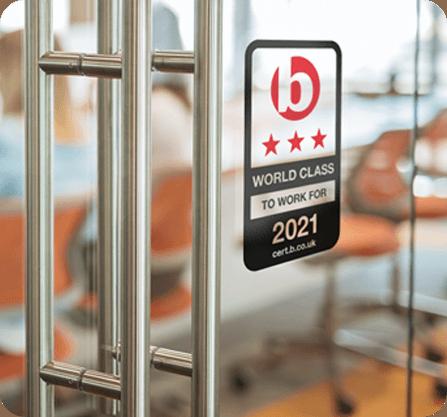 Best Companies Accreditation window vinyl
