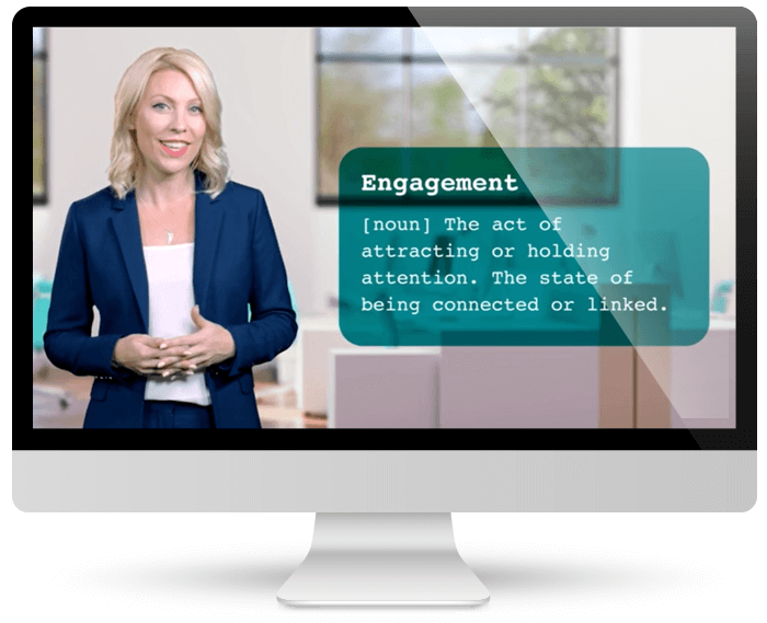 Computer showing a video of the engagement workshop