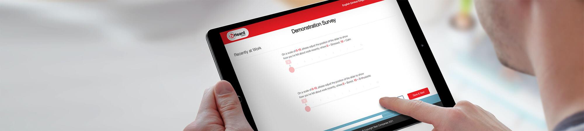 b-Heard Demonstration Survey displayed on an iPad
