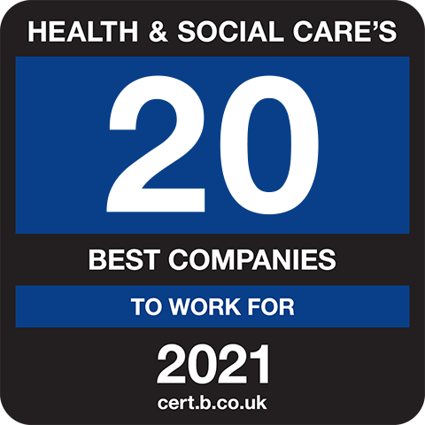 Health and Social Care's 20 Best Companies to Work For 2021 Logo
