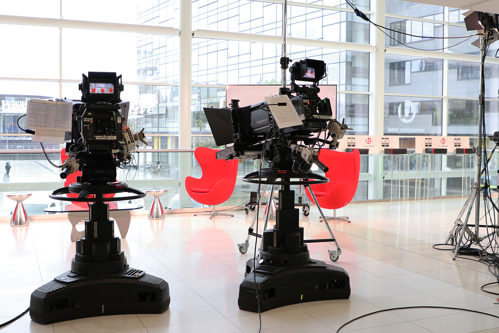 Two cameras ready to film on the set of Best Companies Live