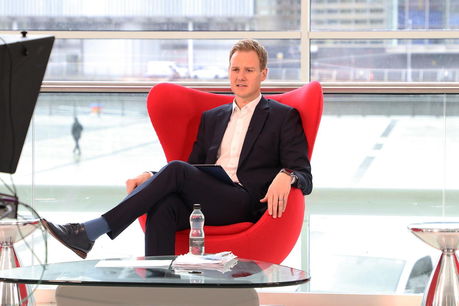 TV Presenter Dan Walke on the set of Best Companies Live at Media City UK